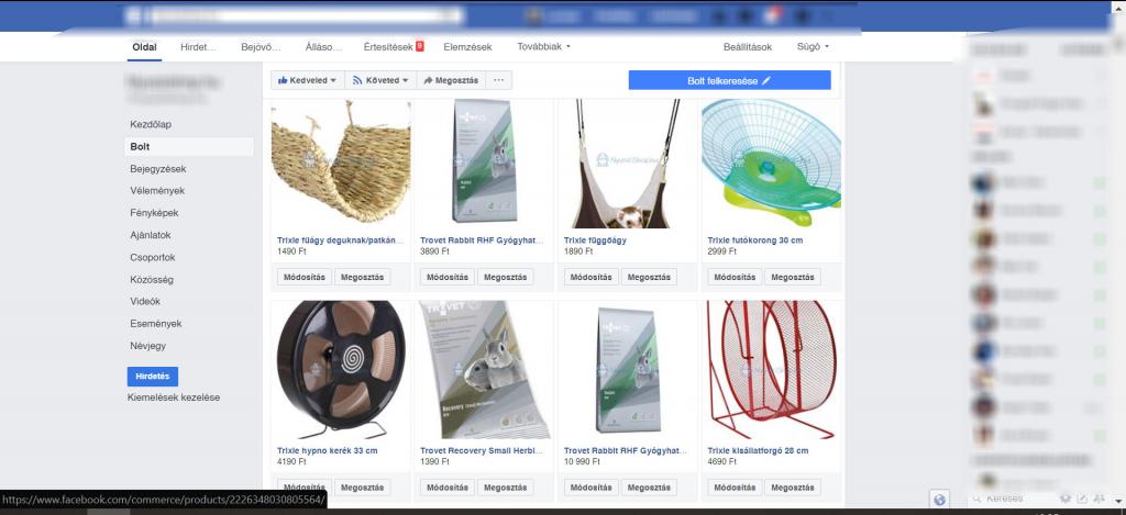 Facebook Bolt egy Facebook üzleti oldalon