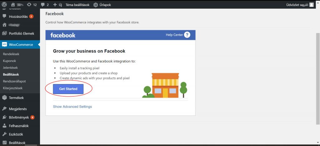 WordPress Facebook plugin - első lépés