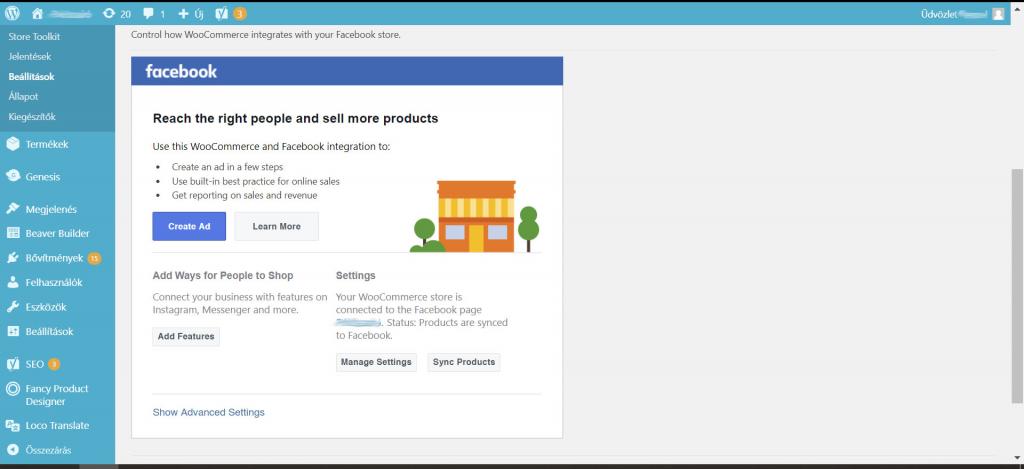 WooCommerce Facebook plugin - Sikeres katalógus kapcsolat