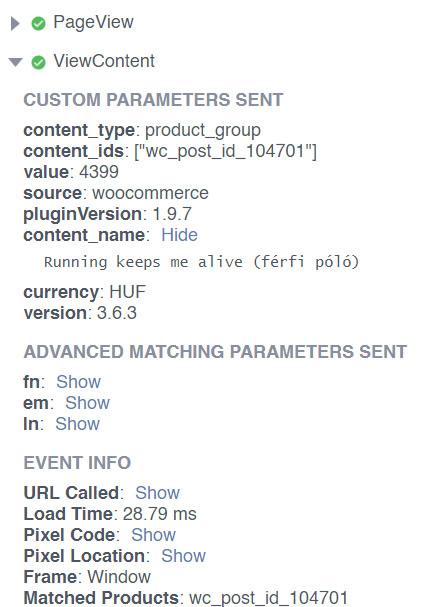 Facebook Pixel Helper: Facebook események termék paraméterekkel