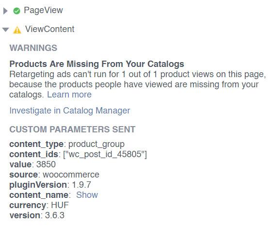 Facebook Pixel Helper: hibás Facebook események