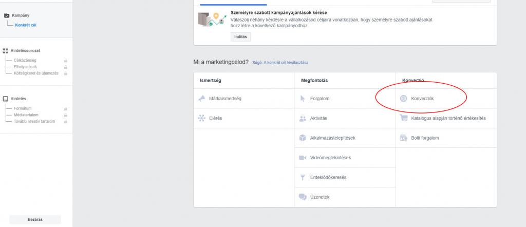 Facebook hirdetés létrehozása termék katalógussal