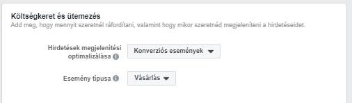 Facebook kampány optimalizálás beállítása