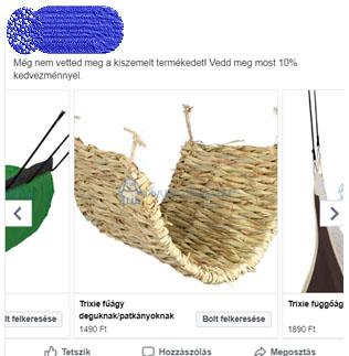 Galéria hirdetés Facebook-on termék katalógussal