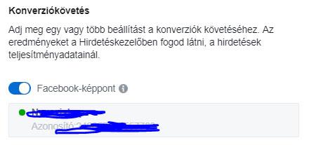 Képpont bekapcsolása Facebook hirdetésben
